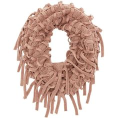 Charlotte Russe Open Knit Fringe Infinity Scarf featuring polyvore, fashion, accessories, scarves, mauve, knit tube scarf, knit circle scarf, tube scarf, knit loop scarf and knit shawl