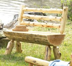 Log Bench with Back - DIY project for Hubby