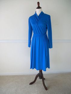 Vintage 1940's Inspired Blue Dress Long Sleeves - pinned by pin4etsy.com