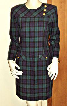 Talbots Petites Sheath Dress Green Purple Plaid 1980s Wool Blend LS Size 8 USA #Talbots #Sheath #WeartoWork