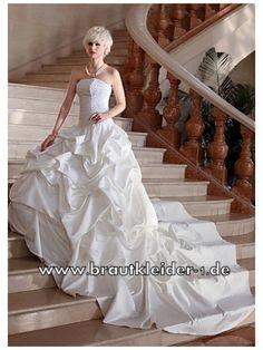 Taft Brautkleid mit Rüschen und Schleppe www.brautkleider-1.de