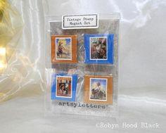 GIFT SET  Vintage Postage Stamp 2 X 2 Magnets Childrens