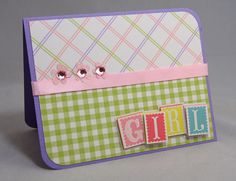 Baby Girl Card - Pink Rhinestone Flowers, Blocks and Gingham