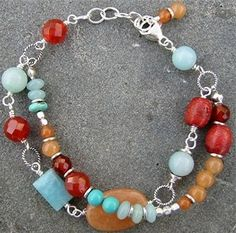 Bracelet - aquamarine, aventurine, coral,   turquoise & sterling silver
