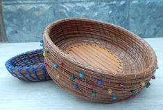 Pine Needle Basket with Oak Bottom and Multicolor by sewcreative