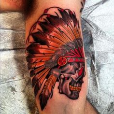 Colorful Skull In An Indian Headdress Tattoo On Arm ~ Skull Tattoo Ideas