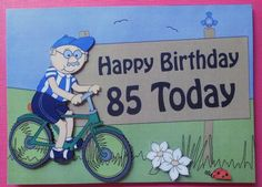 Card Gallery - 5x7 85th Birthday Bert's Bike Scallop Corner