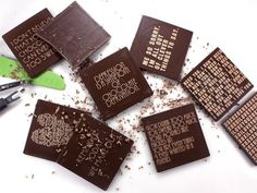 Swallow My Words takes the concept of customization to a delicious new level by imprinting messages on rich, semi-dark premium Belgian chocolate slabs. Use them as favors, place cards, or even menus!