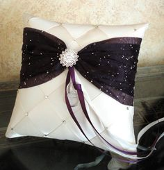Wedding Ring Bearer Pillow Ivory Eggplant Plum or by SisiCreations, $48.00