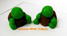Edible Fondant Turtle Cake/Cupcake Toppers by AmazeWithCakes