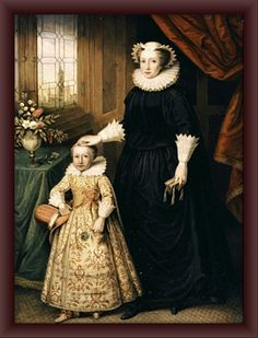 Mary, Queen of Scots and her son James. James would become King James, I, the successor of Queen Elizabeth, and the first of a new dynasty to the English throne ~ the Stuarts.