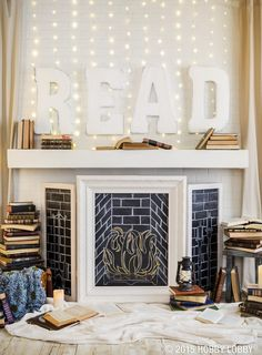 Create a cozy nook with a faux-chalkboard fireplace, chalk paint, and lots of good books!