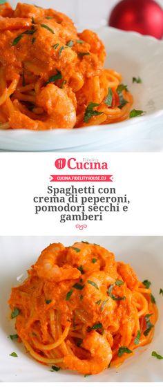 Spaghetti con crema di peperoni, pomodori secchi e gamberi della nostra utente Giovanna. Unisciti alla nostra Community ed invia le tue ricette!