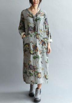 Q52-Casual-Maxi-Plus-Size-Pastoral-Flower-Double-100-Cotton-Womens-Long-Dress
