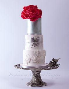 Pink peony on silver tones - Cake by The Enchanting Merchant Company