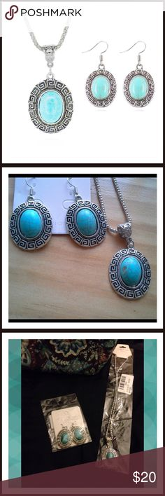 """Necklace with Oval Shaped Earrings New in package. Silver and Turquoise.  Necklace, pendant and earrings set. Faux stone. Adjustable 18-20"""" chain. Tamarismom Jewelry Necklaces"""