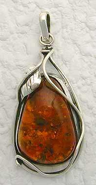 Breathtaking deep, rich, natural cognac amber fossil stone is handcrafted with sterling silver...  -  crystalbay.net
