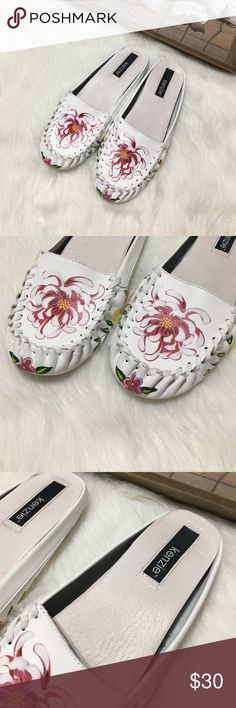 Kenzie White Floral Print Leather Slip On Flats Lovely pair of Kinzie white floral print leather slip on flats in excellent preowned condition size 8 kenzie Shoes Flats & Loafers