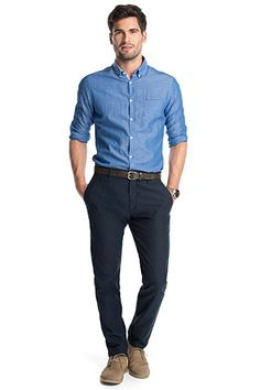 Esprit / Chino met washed effect, katoen Work Casual, Smart Casual, Men Casual, Business Outfits, Business Casual, Men Store, Mens Fashion, Fashion Outfits, Slim Man