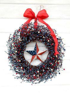 Patriotic RED WHITE & BLUE Door WreathSummer by WildRidgeDesign, $75.00