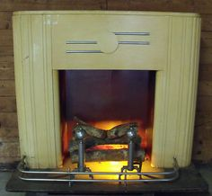 Vtg Art Deco Faux Fireplace Mantle Electric Fire Logs Fender  Andirons | eBay