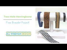 Two-Hole Herringbone Bracelet - FREE project! Beading Patterns Free, Seed Bead Patterns, Beaded Jewelry Patterns, Jewelry Making Tutorials, Beading Tutorials, Beaded Bracelets Tutorial, Beadwork Designs, Herringbone Stitch, Bead Jewellery