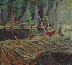 Beaver Dam by Tom Thomson. Tom Thomson, influential Canadian artist of the early century. He directly influenced the Group of Seven, although he tragically died before that group was formed. Emily Carr, Group Of Seven Artists, Group Of Seven Paintings, Canadian Painters, Canadian Artists, Tom Thomson Paintings, Beaver Dam, Art Moderne, Winter Landscape