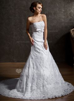...........Wedding Dresses - $232.99 - A-Line/Princess Strapless Chapel Train Satin Tulle Wedding Dress With Lace Beading Bow(s) (002012149) http://jjshouse.com/A-Line-Princess-Strapless-Chapel-Train-Satin-Tulle-Wedding-Dress-With-Lace-Beading-Bow-S-002012149-g12149