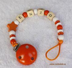 Chupetero de Madera Naranja Beaded Bracelets, Jewelry, Pacifiers, Orange, Hampers, Jewlery, Jewerly, Pearl Bracelets, Schmuck