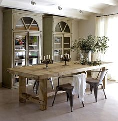 greige: interior design ideas and inspiration for the transitional home : Greige and the lovely Tolix chair Dinning Room Tables, Dining Room Design, Dining Area, Farm Tables, Chunky Dining Table, Dining Rooms, Barn Door Tables, Dining Suites, Wood Tables