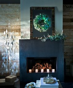 slate fireplace, wood walls (not crazy about the 'Christmas tree')  Simple and wonderful