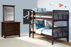 The Wentworth III Dark Kids Bedroom Collection | Furniture.com. Brown rubberwood solid twin bunk bed with mission lines.