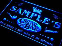 Unique Cigar bar LED sign Custom Name Pipe Pub room Lounge Neon light Sign mens gift