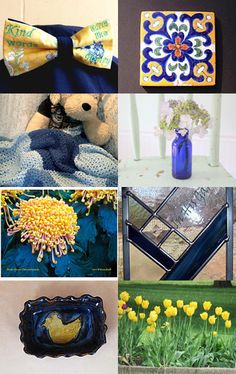 This beautiful treasury of yellow and blue gift ideas includes my mile-a-minute scarf - lovely collection from 16 shops...