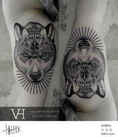 Valentin Hirsch Tattoo - Reversible Wolf Skull Designs