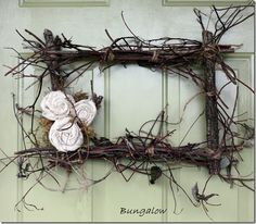 make a square rustic wreath out of twigs