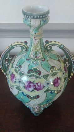 Antique Heavy Moriage Beaded Nippon Hand Painted Ewer Vase bottle