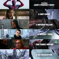 Opening credits relations to the characters in Deadpool Marvel Funny, Marvel Memes, Marvel Dc Comics, Marvel Avengers, Dead Pool, Deadpool And Spiderman, Deadpool 2016, Deadpool Movie, Deus Vult