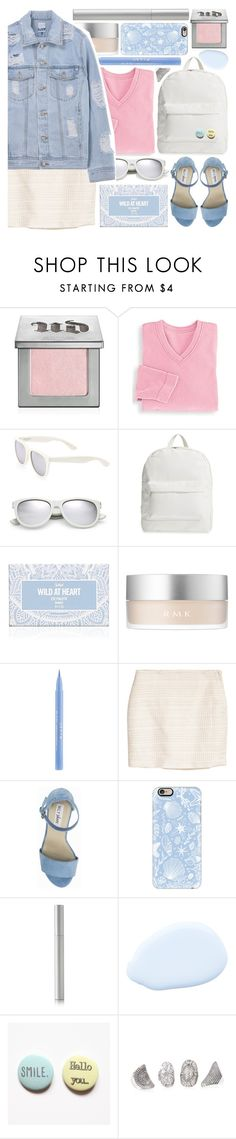 """""""blue jean"""" by foundlostme ❤ liked on Polyvore featuring Urban Decay, Blair, Yves Saint Laurent, Amici Accessories, RMK, Stila, Nly Shoes, Casetify, rms beauty and MINISKIRT"""