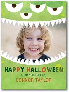 Share your little monster's big smile with a kids Halloween card that is guaranteed to delight.