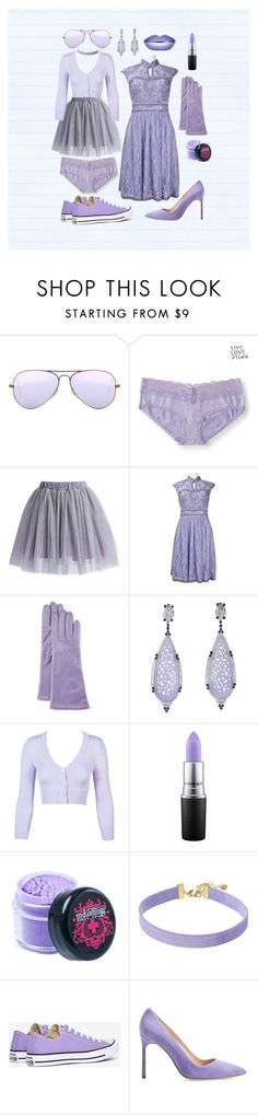 """""""Lavender"""" by olga-opopova ❤ liked on Polyvore featuring Ray-Ban, Aéropostale, Chicwish, Sue Wong, Portolano, MAC Cosmetics, Vanessa Mooney, Converse and Manolo Blahnik"""