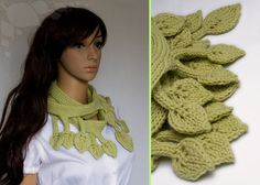 Romantic knit leaf fashion scarf in chartreuse / light green.  Its like a super long tree branch with many leaves.    Gorgeous yarn, qualitative