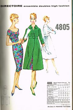 I love McCall's Patterns.  We always have some great McCall's Patterns in stock from 1900 to the Late 1960s. Vintage Dress Patterns, Vintage Dresses, Retro Outfits, Vintage Outfits, 1950s Fashion, Vintage Fashion, Retro Clothing, Mccalls Patterns, Couture