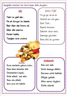 Okumaya yeni geçen öğrenciler için minik metinler Çiğdem öğretmen Primary School, Pre School, Learn Turkish, Preschool Activities, Karma, Montessori, Education, Math, Learning