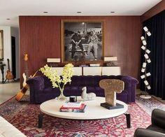 Adam Levine's Hollywood Home. Love the PURPLE sofa.