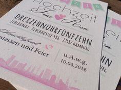Hochzeitseinladung Hamburg, Vintage Einladungskarte Für Hochzeit,  Individuell Designt By Die Kartenfrau