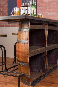 Whiskey Barrel Bar, Free Standing Bar, Live Edge Bar, Bar Shed, Portable Bar, Diy Outdoor Bar, Bar Plans, Home Bar Designs, Backyard Bar