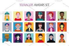 Teenagers Avatars Set. Student #avatar