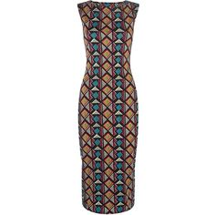 Stand out in this trial print midi dress, wear with strappy heels for great evening look. All over print. Sleeveless design. Bodycon fit. Stretch jersey fabric…