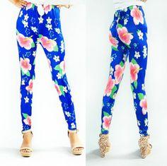 blue women's flower print legging stretchy tights pants fashion spring leggings